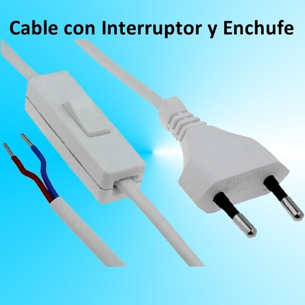 Cable con interruptor y enchufe para luz o lampara cable - Enchufes con interruptor ...