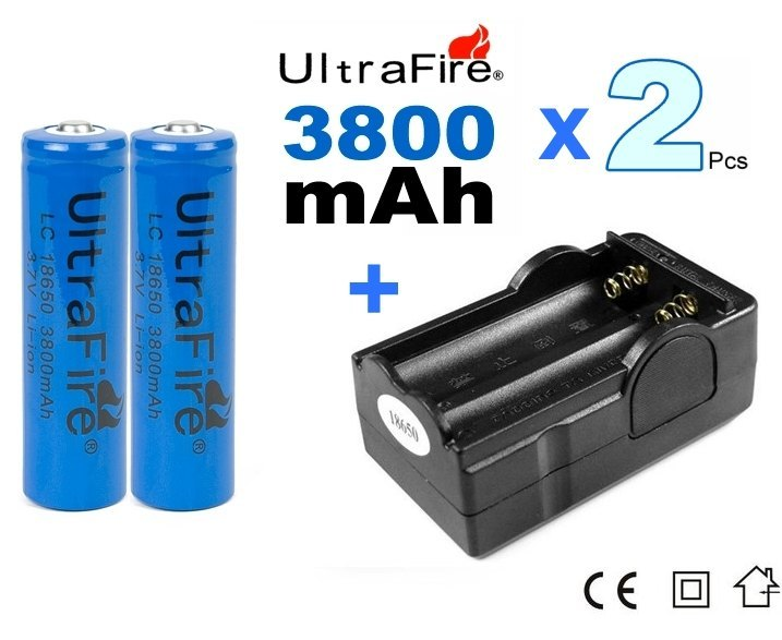 2 x Bateria Recargable 18650 3800mAh Litio ion + cargador