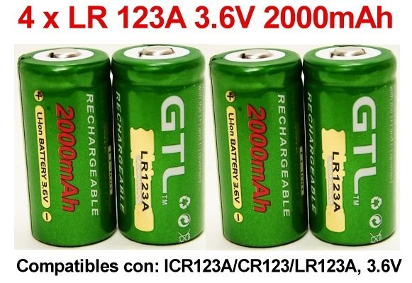 4 x Baterias Recargables Litio ion CR123A LR123A 3,7V 2000mAh