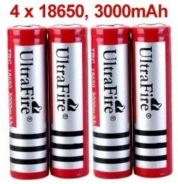 4 x Pila Bateria 18650 Litio Ion Recargable de 3000mAh