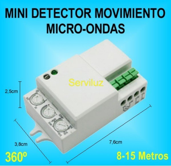 Mini detector de movimiento microondas radar para luz - Detector de movimiento ...