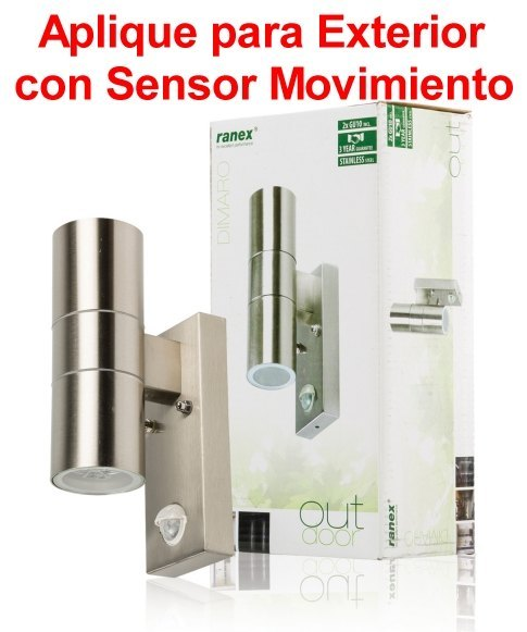 Aplique con sensor de movimiento luz 2x gu10 pared for Detector movimiento exterior