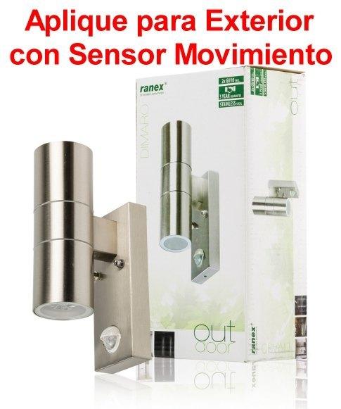 Aplique con sensor de movimiento luz 2x gu10 pared exterior ranex aplique con sensor de - Sensores de movimiento para iluminacion ...