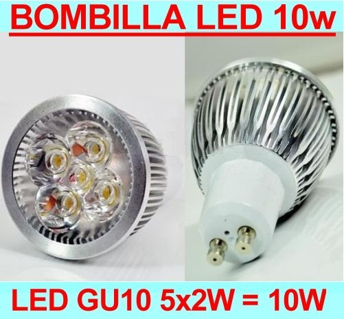 Bombilla LED GU10 de 10W de potencia Color Blanco