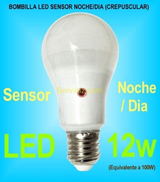 Bombilla led noche dia sensor crepuscular e27 de 12w 6000k - Detector de movimiento para luces ...