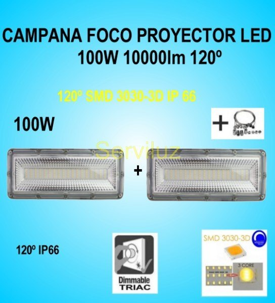 Campana LED Industrial Foco Proyector Lineal 100W 10000Lm IP66 120º