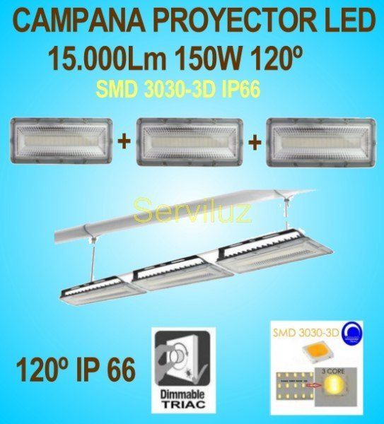 Campana LED Industrial Foco Proyector Lineal 150W 15000Lm IP66 120º