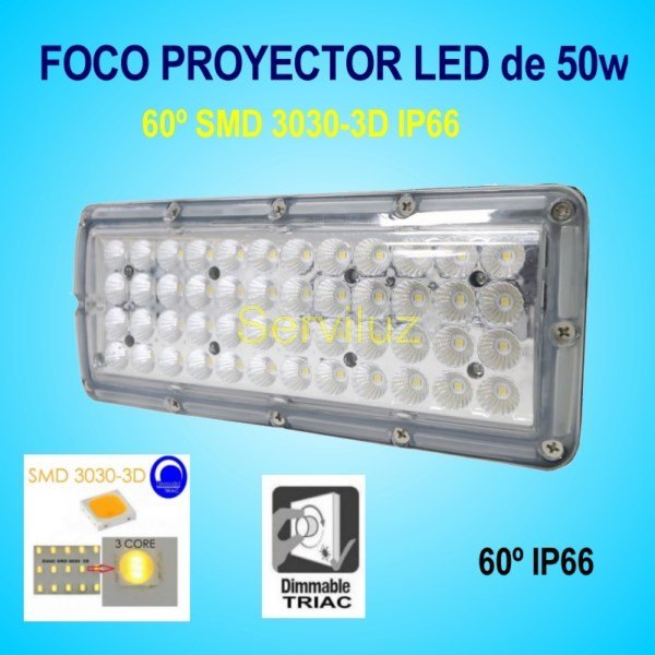 Campana LED Industrial Foco Proyector Lineal 50W 6500Lm IP65 60º