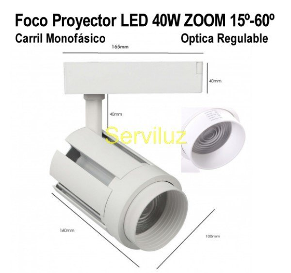 Foco LED Carril 40W Monofásico Optica regulable 15º a 60º 4000K