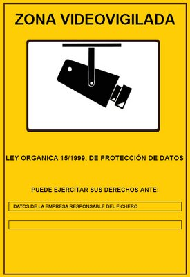 "Cartel informativo ""Zona Video vigilada"" plastificado"