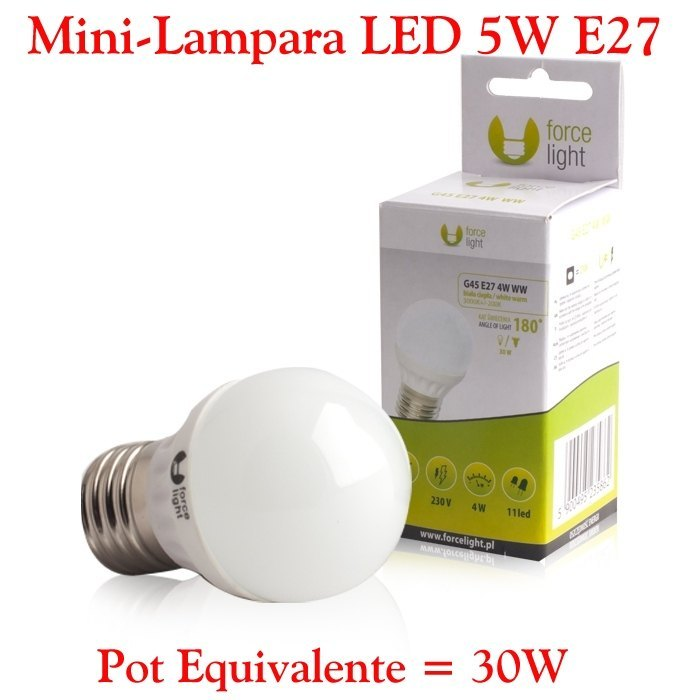 Mini Bombilla Lampara LED E27 5W Bombilla LED E27 5W Calida