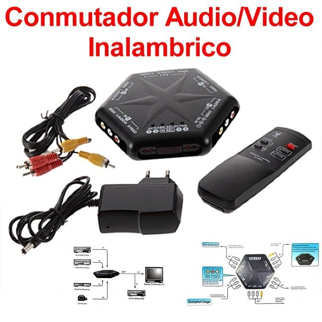 Conmutador Selector Audio Video (AV) Inalambrico de 4 Vias RCA