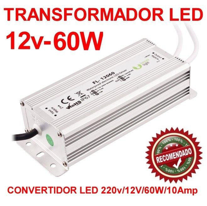 Transformador convertidor led 220v a 12v y 60w de potencia for Transformador para led