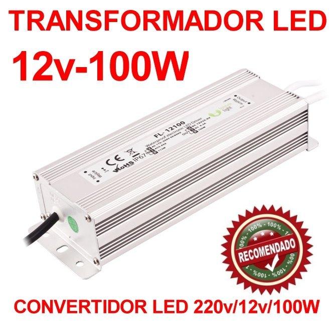 Transformador convertidor led 220v a 12v y 100w de for Transformador led 12v