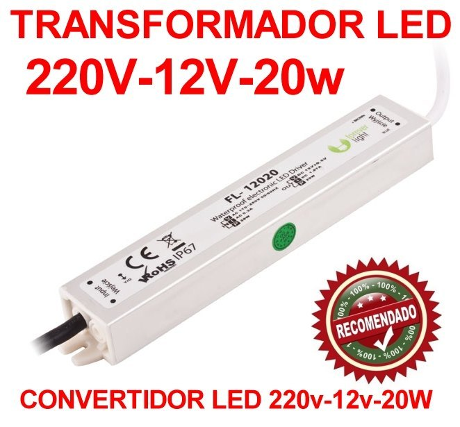 Transformador convertidor led 220v a 12v y 20w de potencia for Transformador 12v a 220v